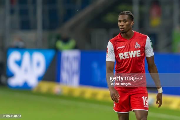 Kingsley Ehizibue of 1.FC Koeln Looks on during the Bundesliga match between TSG Hoffenheim and 1. FC Köln at PreZero-Arena on October 15, 2021 in...