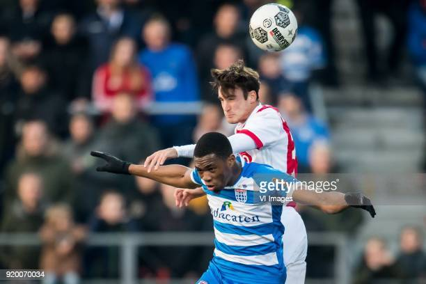 Kingsley Ehizibue of PEC Zwolle Nicolas Tagliafico of Ajax during the Dutch Eredivisie match between PEC Zwolle and Ajax Amsterdam at the MAC3Park...