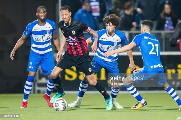 Kingsley Ehizibue of PEC Zwolle Ryan Koolwijk of sbv Excelsior Phillipe Sandler of PEC Zwolle Younes Namli of PEC Zwolle during the Dutch Eredivisie...