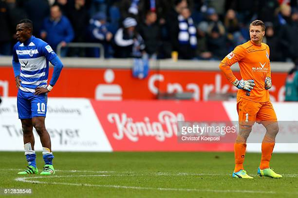 Kingsley Onuegbu and Michael Ratajczak of Duisburg look dejected after the 2 Bundesliga match between MSV Duisburg and FC St Pauli at...
