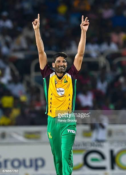 Kingston Jamaica 16 July 2016 Sohail Tanvir of Guyana Amazon Warriors celebrates the dismissal of Rovman Powell of Jamaica Tallawahs during Match 15...