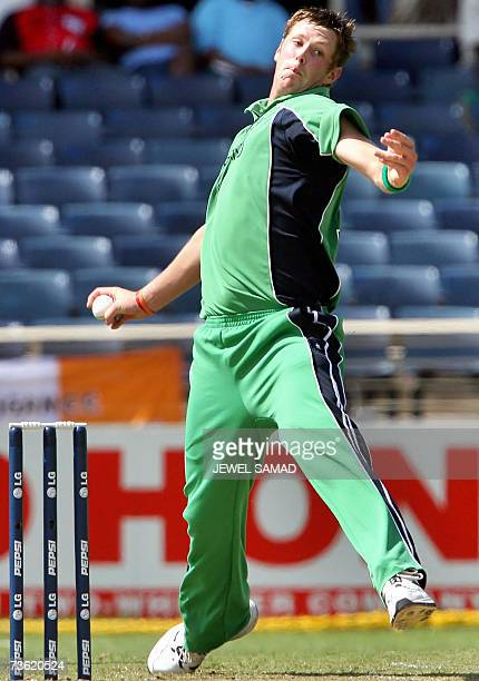 Irish cricket Boyd Rankin prepares to deliver a ball to Pakistani batsman Kamran Akmal during the Group D match of the ICC World Cup 2007 between...