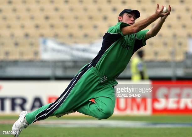 Irish cricket team captain captain Trent Johnston dives to successfully take a catch to dismiss Pakistani batsman Kamran Akmal during their Group D...