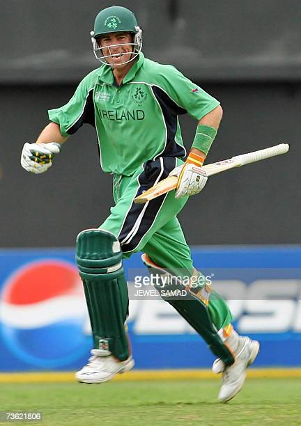 Irish cricket team captain Trent Johnston celebrates after taking the last run to win over Pakistan during the Group D match of the ICC World Cup...
