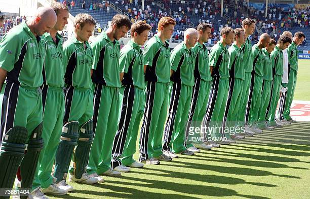 Irish cricket team members observe a minute of silence in remembrance of murdered Pakistan national cricket team coach Bob Woolmer before the Group D...