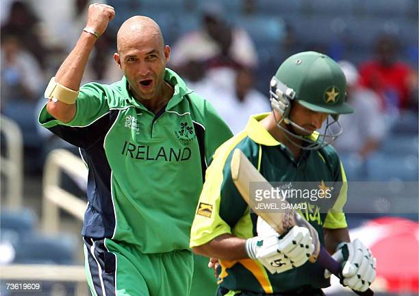 Irish cricketer Andre Botha gestures as he celebrates dismissing Pakistani batsman Imran Nazir during their Group D match of the ICC World Cup 2007...