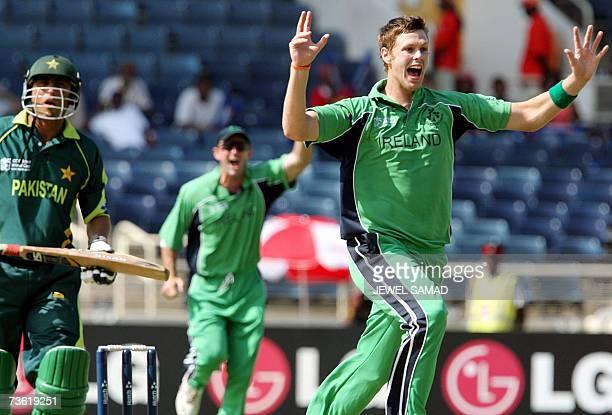 Irish cricketer Boyd Rankin celebrates dismissing Pakistani batsman Younis Khan during their Group D match of the ICC World Cup 2007 between Ireland...