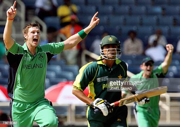Irish cricketer Boyd Rankin gets airborne after dismissing Pakistani batsman Younis Khan during their Group D match of the ICC World Cup 2007 between...