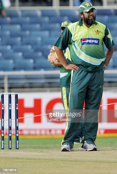 Pakistani cricket team captain InzamamulHaq inspects the crease before the Group D match of the ICC World Cup 2007 at the Sabina Park Cricket Ground...
