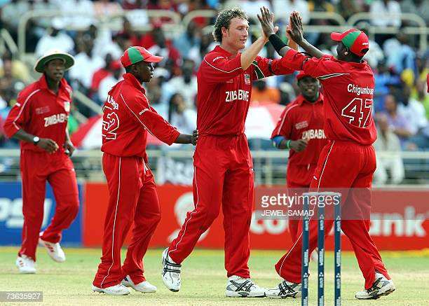 Zimbabwe's cricketer Anthony Ireland celebrates with teammates after dismissing West Indies batsman Ramnaresh Sarwan during their ICC World Cup...