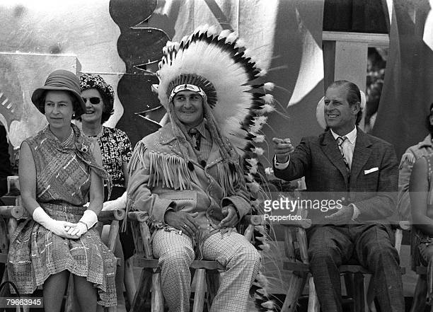 Kingston Ontario Canada 3rd July 1973 HRH Queen Elizabeth II and Prince Philip the Duke of Edinburgh sit either side of a Indian in Kingston during...