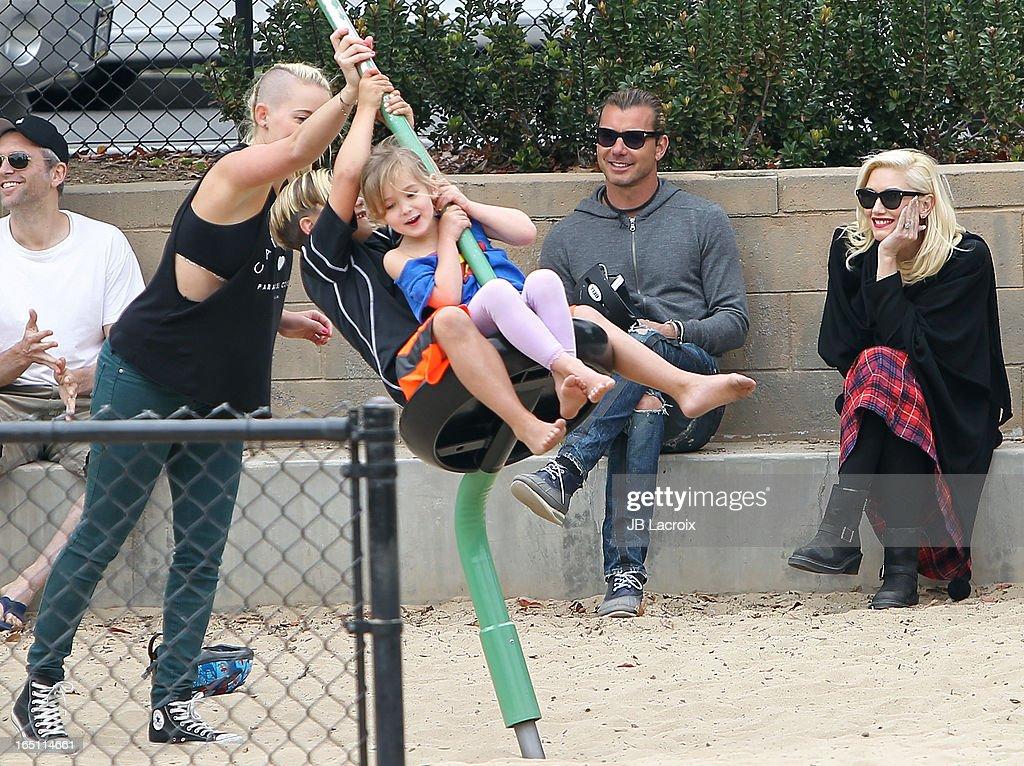Kingston Rossdale, Gavin Rossdale and Gwen Stefani are seen on March 30, 2013 in Los Angeles, California.