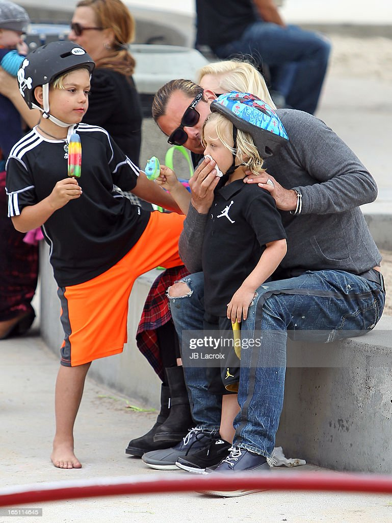 Kingston Rossdale, Gavin Rossdale and Zuma Rossdale are seen on March 30, 2013 in Los Angeles, California.