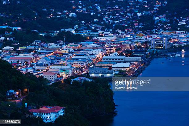 kingstown, city view from fort charlotte - kingstown stock pictures, royalty-free photos & images