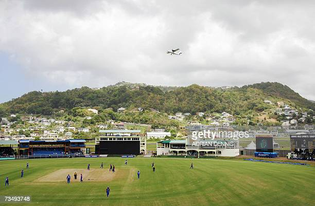 Kingstown SAINT VINCENT AND THE GRENADINES An aircraft takes off from ET Joshua Airport adjacent to Arnos Vale stadium where England are playing...