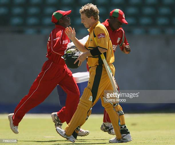 Kingstown, SAINT VINCENT AND THE GRENADINES: Australian cricketer Brad Haddin leaves the field after being dismissed during the Cricket World Cup...