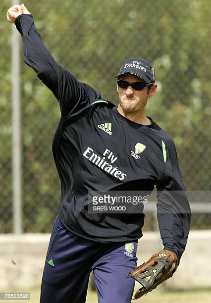 Kingstown SAINT VINCENT AND THE GRENADINES Australian cricketer Michael Hussey throws the ball during a training session on the Caribbean island of...
