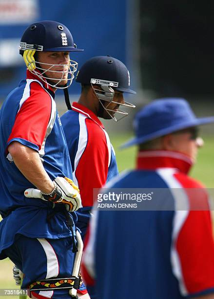 Kingstown SAINT VINCENT AND THE GRENADINES England's Andrew Flintoff and Ravi Bopara wait for their turn in the batting nets under the close eye of...