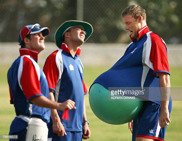 Kingstown, SAINT VINCENT AND THE GRENADINES: England's Andrew Flintoff jokes around with the team's physio ball during the team training session at...