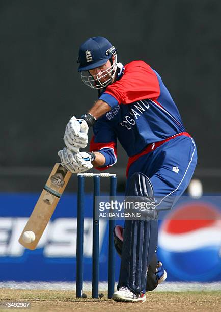 Kingstown SAINT VINCENT AND THE GRENADINES England's Captain Michael Vaughan plays a shot against Bermuda at Arnos Vale stadium in Kingstown St...