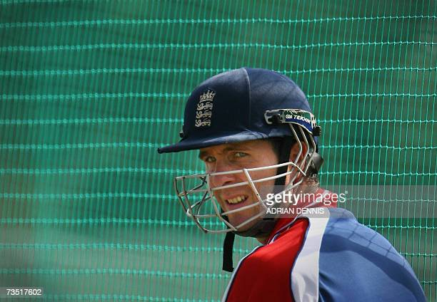 Kingstown SAINT VINCENT AND THE GRENADINES England's captain Michael Vaughan in the batting nets during a team training session at Stubbs cricket...