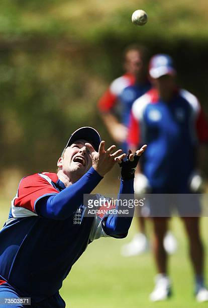 Kingstown SAINT VINCENT AND THE GRENADINES England's Jamie Dalrymple keeps his eye on the ball to make a catch during training at Sion Hill cricket...