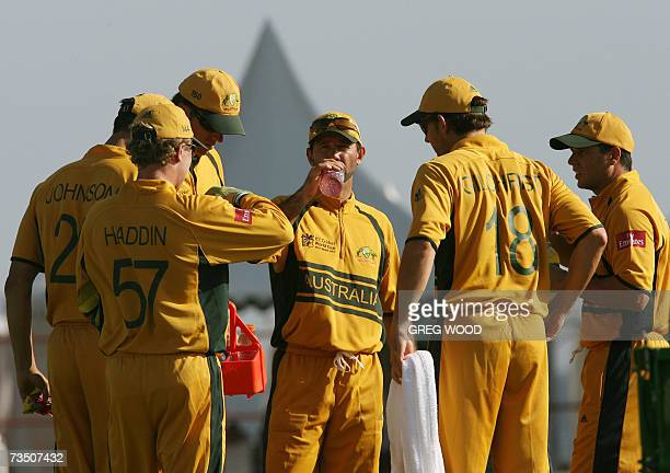 Kingstown, SAINT VINCENT AND THE GRENADINES: The Australian cricket team led by captain Ricky Ponting take a drinks break during hot conditions in...