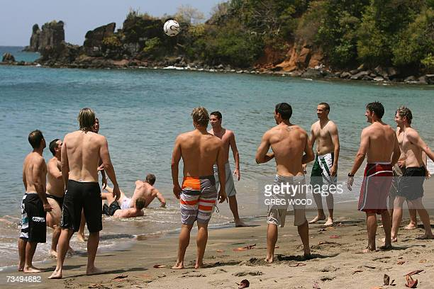 Kingstown, SAINT VINCENT AND THE GRENADINES: The Australian World Cup cricket team conduct a recovery session in front of their resort complex on the...