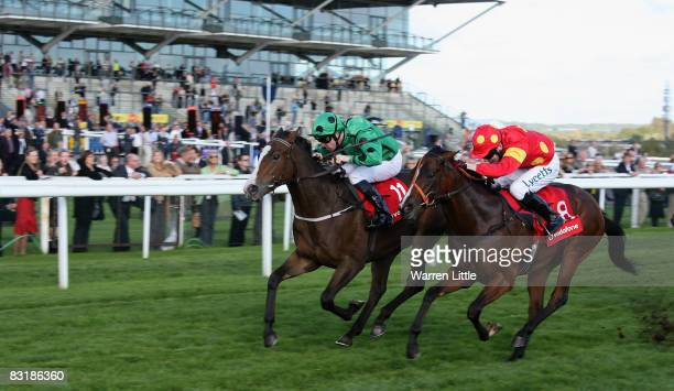 Kingswinford ridden by Robert Winston wins the Sir Gerald Whent Memorial Nursery Handicap Stakes by a head at Newbury Racecourse on October 9 in...