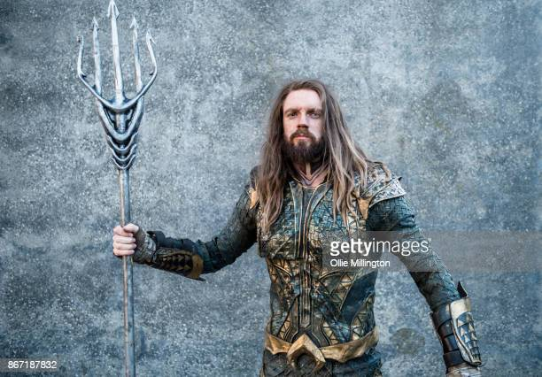 Kingtide Cosplay in character as Justice League Aquaman during MCM London Comic Con 2017 held at the ExCel on October 27 2017 in London England