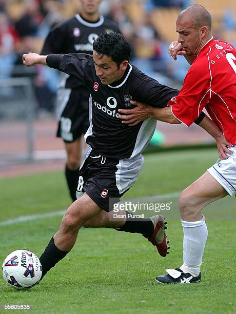 Kingz No8 Patricio Almendra keeps the ball away from Nahuel Arrarte during the National Soccer League match between the Kingz and Sydney United...