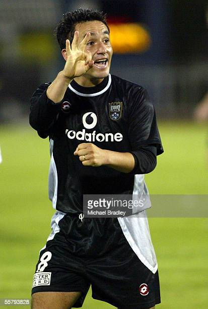 Kingz Patricio Almendra signals to the Kingz fans at the end of the NSL soccer match between the Football Kingz and Newcastle United played at...