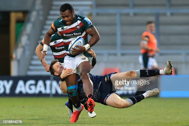 Kini Murimurivalu of Leicester is tackled by Sam James of Leicester during the Gallagher Premiership Rugby match between Sale Sharks and Leicester...
