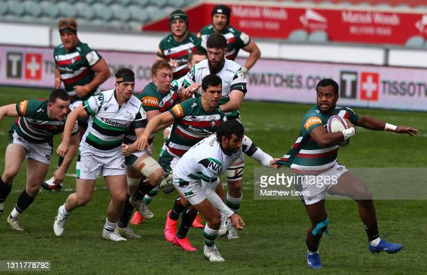 Kini Murimurivalu of Leicester Tigers breaks clear of the Newcastle Falcon defence during the European Rugby Challenge Cup Quarter Final match...