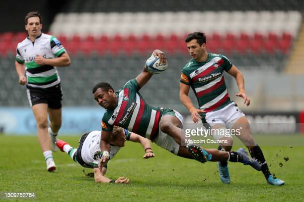 Kini Murimurivalu of Leicester Tigers is tackled during the Gallagher Premiership Rugby match between Leicester Tigers and Newcastle Falcons at...