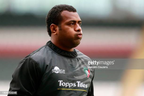 Kini Murimurivalu of Leicester Tigers looks on during the Gallagher Premiership Rugby match between Leicester Tigers and Newcastle Falcons at Welford...