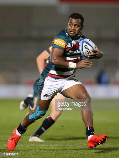 Kini Murimurivalu of Leicester Tigers runs with the ball during the Gallagher Premiership Rugby match between Sale and Leicester Tigers at AJ Bell...