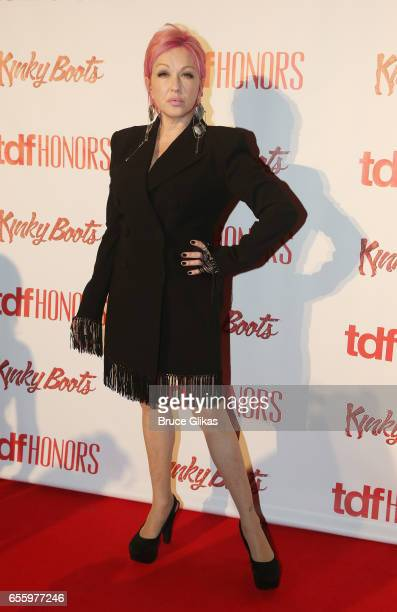 'Kinky Boots' Composer Cyndi Lauper poses at The TDF Honors Cyndi Lauper and Broadway's 'Kinky Boots' at Marriott Marquis Times Square on March 20...