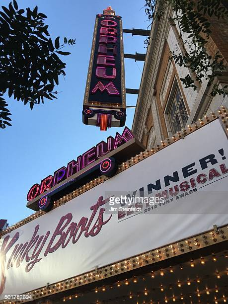 Kinky Boots marquee at the Orpheum Theatre in Minneapolis, Minnesota on July 29, 2015.
