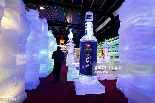 Kinmen Kaoliang Liquor ice sculpture is displayed at Fantasy Ice World on January 23 2014 in Taipei Taiwan Ice sculptors from the famous Harbin Ice...