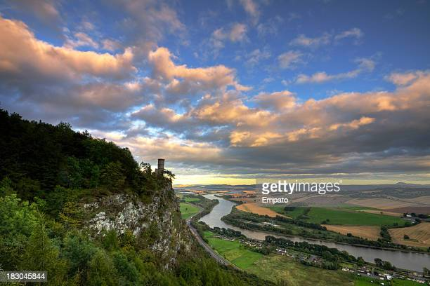 kinnoul tower overlooking perthshire landscape in evening light. - perth scotland stock pictures, royalty-free photos & images