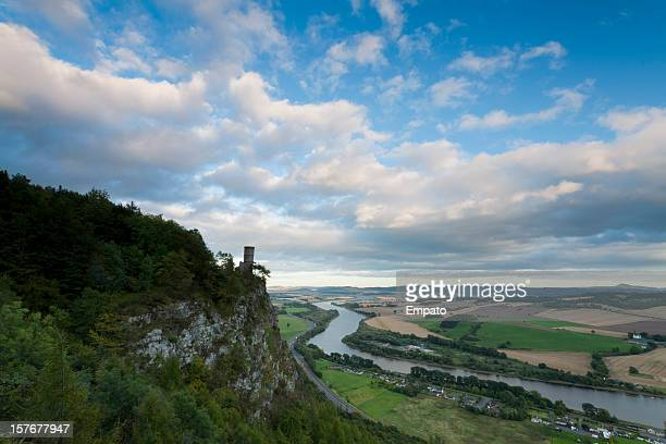kinnoul tower, overlooking rural perthshire, scotland. - perth scotland stock pictures, royalty-free photos & images