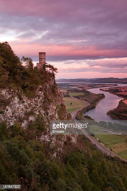 kinnoul tower, perthshire at sunset. - perth scotland stock pictures, royalty-free photos & images