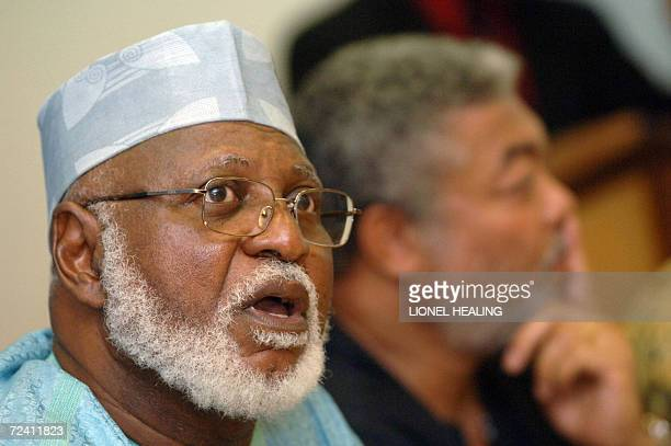 Kinshasa Democratic Republic of the Congo Former Nigerian President Abdusalami Aboubacar part of the Africa Forum speaks to the press as the former...