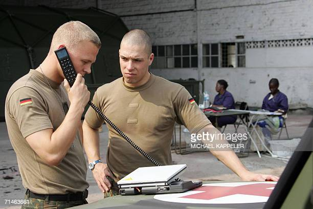 Kinshasa Democratic Republic of the Congo Soldiers of the German Armed Forces Bundeswehr use a telephone at the EUFOR troops' N'Dolo camp in Kinshasa...
