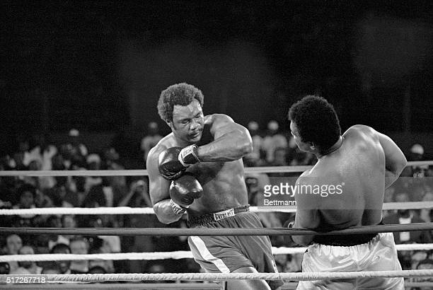 Muhammad Ali smashes a right to the head of George Foreman
