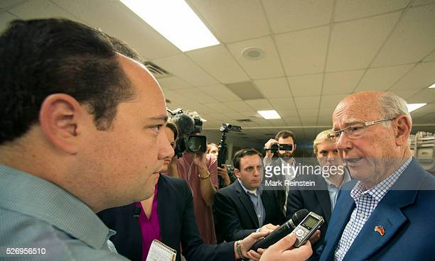 Kinsley Kansas 9232014 Senator Pat Roberts answers questions from Washington Post reporter Phillip Rucker after the town hall meeting with seniors at...