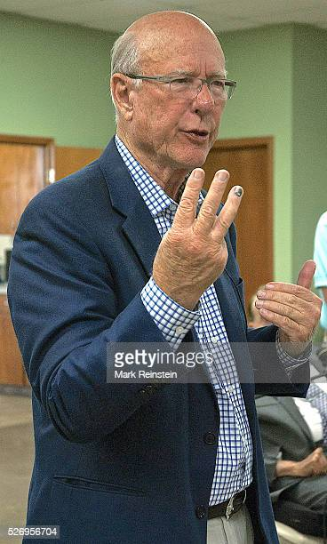 Kinsley Kansas 9232014 Senator Pat Roberts gestures during his town hall meeting with supporters in the Edwards County town of Kinsley which is...