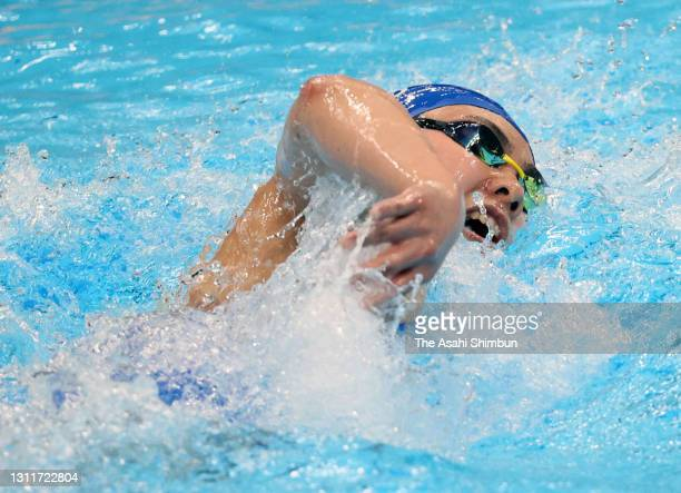Kinuko Mochizuki competes in the Women's 800m Freestyle final on day seven of the 97th Japan Swimming Championships at the Tokyo Aquatics Centre on...