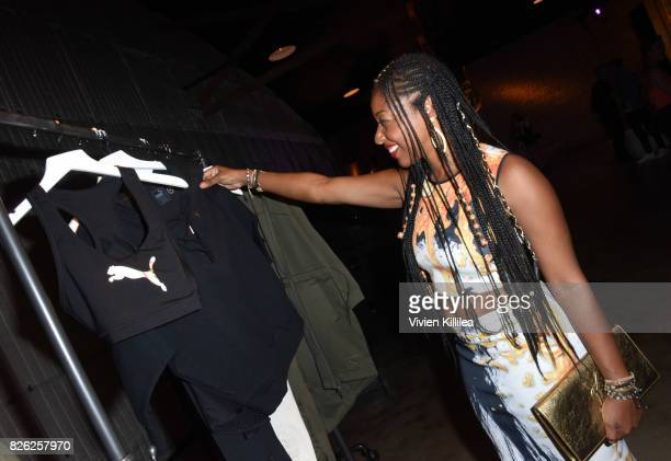 Kinya Claiborne attends PUMA Hosts CAMP PUMA To Launch Their Newest Women's Collection Velvet Rope at Goya Studios on August 3 2017 in Los Angeles...